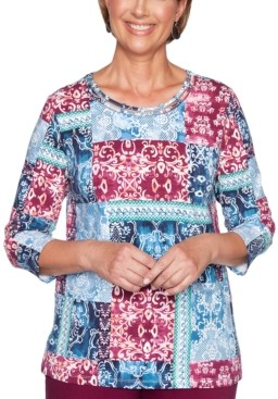 Alfred Dunner Autumn Harvest Patchwork-Print Top