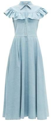 Miu Miu Ruffled Denim Midi Dress - Womens - Light Blue