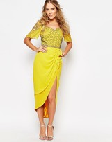 Virgos Lounge Laila Embellished Midi Dress With Thigh Split