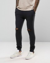 Asos Super Skinny Joggers With Knee Rips In Washed Black
