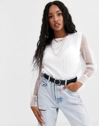 NA-KD Na Kd long sleeve organza blouse in white