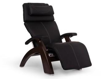 Human Touch Power - Push Button Glider Finish: Dark Walnut, Fabric: Espresso, Leather Type: Top-Grain Leather