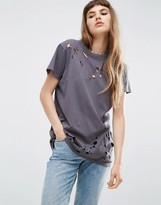 Asos T-Shirt in Boyfriend Fit with Distressed Detail