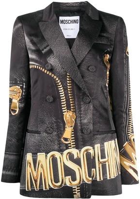 Moschino Zip Print Blazer
