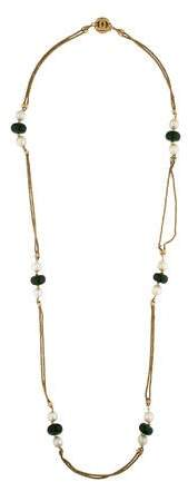 Chanel Bead & Pearl Station Necklace