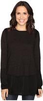 Heather Slub Sateen Long Sleeve Layered Top Women's Clothing