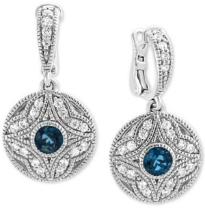 Effy London Blue Topaz (3/4 ct. t.w.) & White Sapphire (1/2 ct. t.w.) Drop Earrings in Sterling Silver