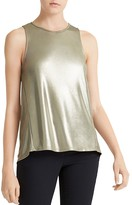Halston Metallic Jersey Twist-Back Tank