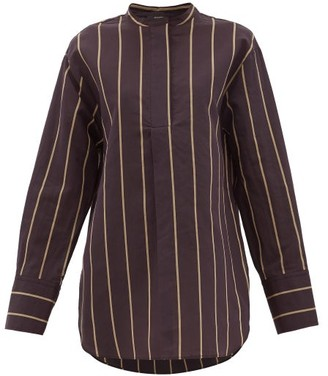 Joseph Aufray Mandarin-collar Striped Cotton-blend Shirt - Womens - Black Multi