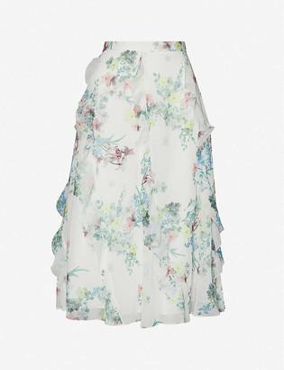 Ted Baker Pergola-print ruffle high-waist crepe midi skirt