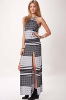Blue Life Halter 2-Slit Dress in Aztec Stripe