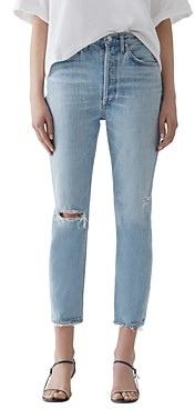 AGOLDE Riley High Rise Cropped Straight-Leg Jeans in Shatter
