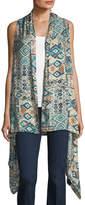 Neiman Marcus Graphic-Print Knit Vest