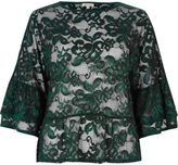 River Island Womens Dark green lace flared top