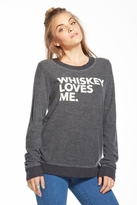 Chaser LA Whiskey Loves Me Long Sleeve Panel Tee in Black