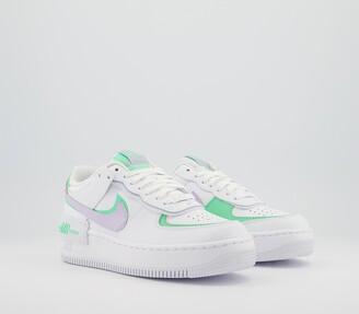 Nike Force 1 Shadow Trainers White Infinite Lilac Football Grey Green Glow Viol
