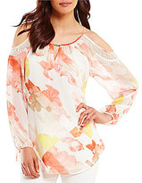 Calvin Klein Floral Printed Chiffon Lace Trim Cold Shoulder Top