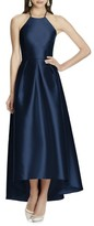 Alfred Sung Women's High/low Hem Sateen Halter Dress