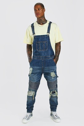 boohoo Mens Blue Slim Long Denim Biker Dungarees With Rips, Blue