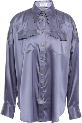 Brunello Cucinelli Stretch Silk-satin Shirt