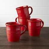 Crate & Barrel Set of 4 Farmhouse Red Mugs