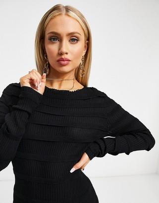 NA-KD knitted body mini dress in black