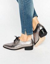 Dune Loris Silver Metallic Leather Lace Up Flat Shoes