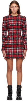Balmain Red Tweed Tartan Dress