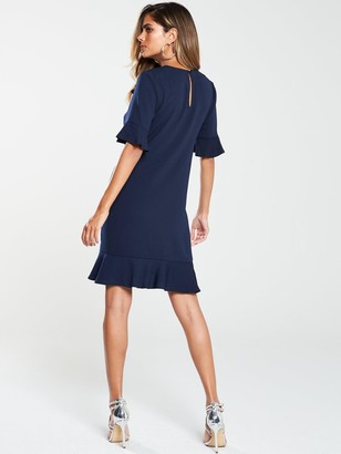 Very Ruffle Detail Formal Tunic Dress - Navy