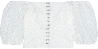 Shrimps Tex Faux Pearl-embellished Broderie Anglaise Organza Top