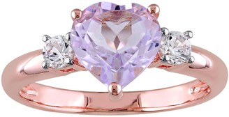 Stella Grace 18k Rose Gold Over Silver Rose de France Amethyst & Lab Created White Sapphire Heart Ring