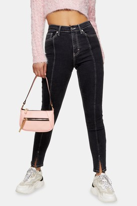 Topshop Wash Black Contrast Split Hem Skinny Jeans