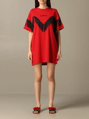 Gaelle Bonheur Short-sleeved Dress With Fringes