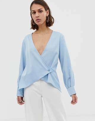 UNIQUE21 long sleeve pinstripe wrap top-Blue