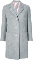 Thom Browne Unlined Single Breasted Sack Overcoat In Double Face Melton With Too Cold Fur Patch