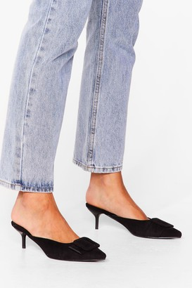 Nasty Gal Womens You're Kitten Me Faux Suede Heeled Mules - Black - 3