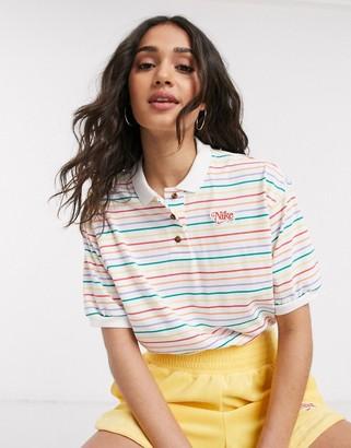 Nike multi stripe crop polo t-shirt