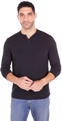 Lucky Brand Long Sleeve Mineral Wash Button Notch Tee (Blue Bell) Men's Clothing