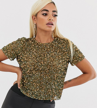 Asos DESIGN Petite t-shirt with sequin embellishment-Green