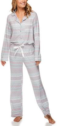 Kathy Ireland Women's Sleep Bottoms WIW - Light Gray Fair Isle Pocket Pajama Set - Women