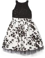 Speechless Black & White Floral Yoke Dress - Girls
