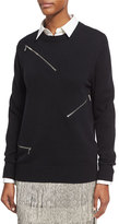 Michael Kors Zip-Detail Crewneck Sweater, Black