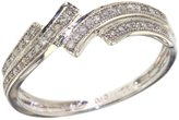 Paradise Jewelers Women's 0.15 CTW Diamond Micro Pave 10K White Gold 2-Row Bypass Band, Size 9