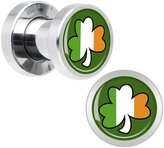 Body Candy Stainless Steel Lucky Ireland Shamrock Screw Fit Plug Pair 4 Gauge
