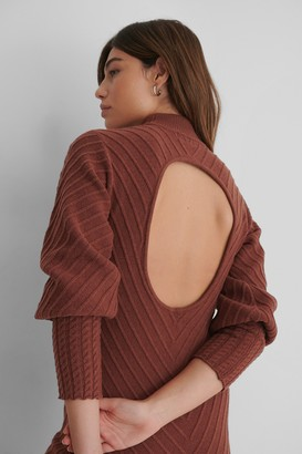 The Fashion Fraction X NA-KD Pattern Knitted Open Back Dress