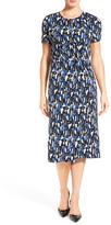 HUGO BOSS &Enedita& Mosaic Print Faux Wrap Jersey Dress