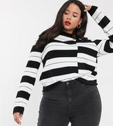 Urban Bliss Plus high neck sweater in stripe