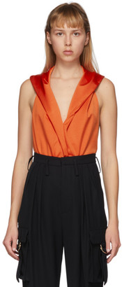 Balmain Orange Hooded Bodysuit