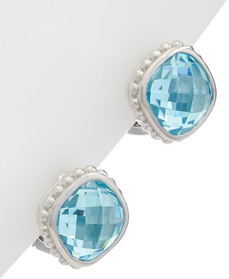 Judith Ripka Checkerboard Silver Crystal Earrings