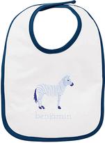 Princess Linens White & Blue Zebra Personalized Bib